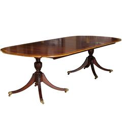 Georgian Style Baker Double Pedestal Dining Table