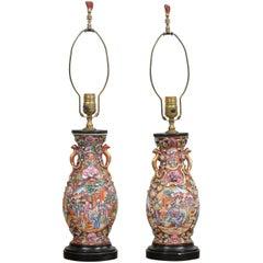 Pair of Antique Rose Mandarin Lamps