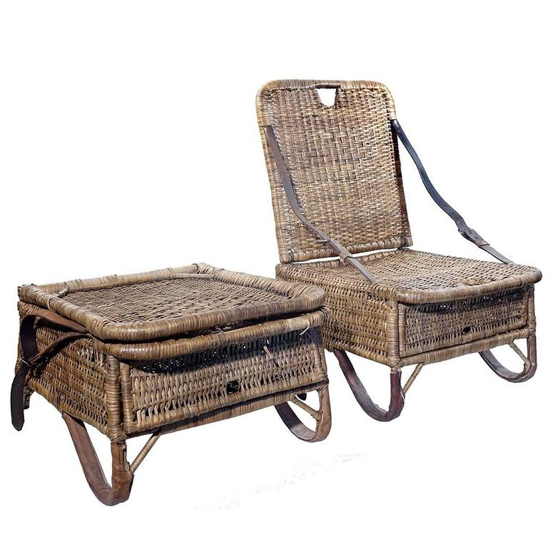 Pair of Folding Wicker Canoe Chairs 1