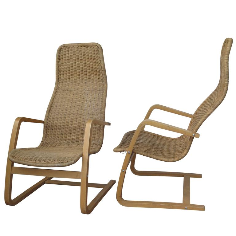 Great Pair Of Mid Century Modern Swedish Chairs Wicker Bentwood 1