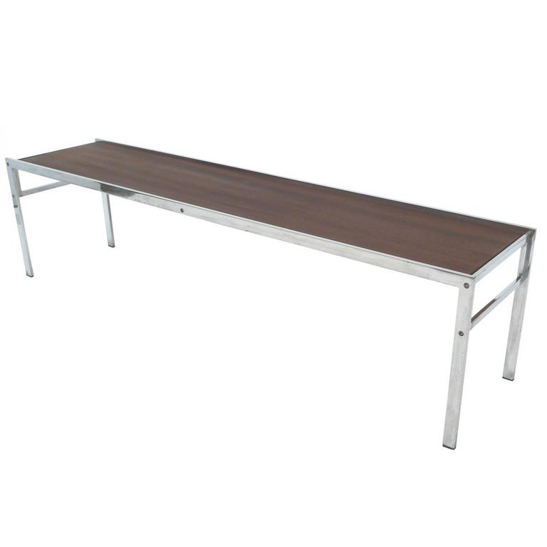 Low Modern Coffee Table: Modern Walnut And Chrome Low Coffee Table For Sale At 1stdibs