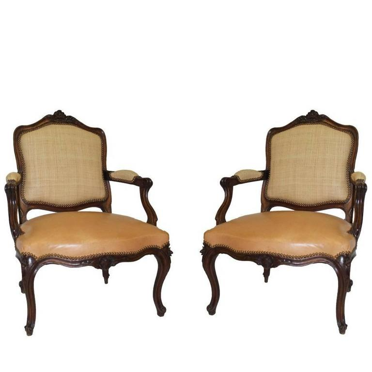 Pair of French Louis XV Style Fauteuil