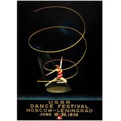 Original Vintage Intourist Poster USSR Dance Festival Moscow Leningrad Ballet