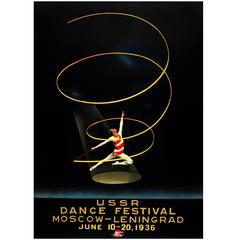 Original Vintage Intourist Poster for the Ussr Dance Festival Moscow Leningrad
