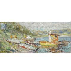 Soviet Era Painting 'Along the Oka River' by Alexander Lopatkin