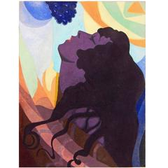 """Bacchante,"" Bold, Richly-Hued Art Deco Painting in Purples and Blues"
