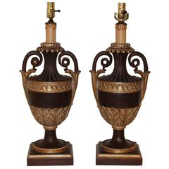 Pair of Italian Empire Gilt and Natural Wood Lamps