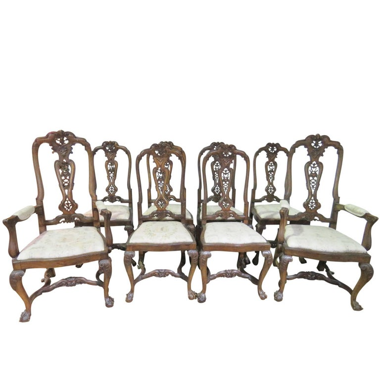 Set Eight Italian Walnut Carved Chippendale Style Dining Chairs For Sale