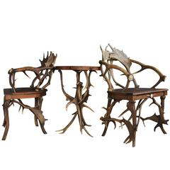 Spectacular Set of Antique Scandinavian Antler Chairs and Table