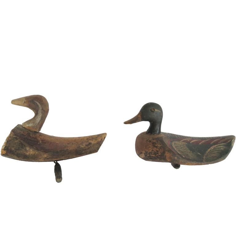 Painted Wooden Ducks At 1stdibs