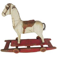 19th Century Wooden Rocking Horse