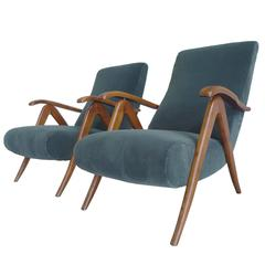 1940s Italian Reclining Armchairs in the Style of Carlo Mollino