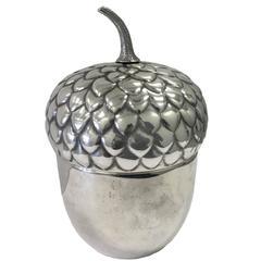 Italian Silvered Acorn Ice Bucket by Teghini Firenze