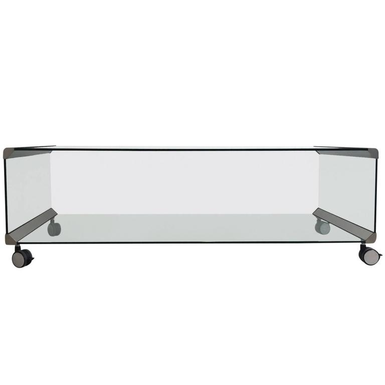Chrome and Glass Coffee Table, by Pierangelo Galotti for Galotti & Radice, 1975