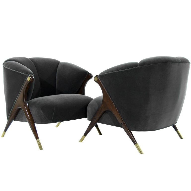 Modernist Karpen Lounge Chairs In Granite Velvet For Sale At 1stdibs