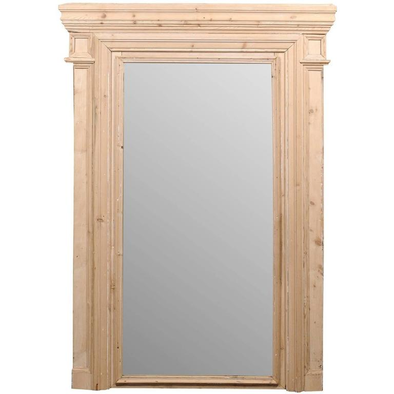 Large French 19th Century Neutral Trumeau Wall Mirror with Natural Wood Finish