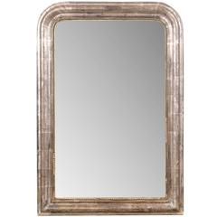 French 19th Century Silver Gilt Medium Size Wall Mirror, Rectangle & Bead Motif