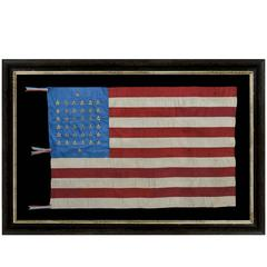 38 Star, Silk Flag with 12 Stripes and Three Different Styles of Stars