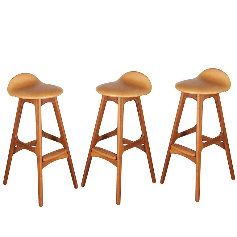 Leather Teak Counter Stool by Erik Buch, Set of 3 1