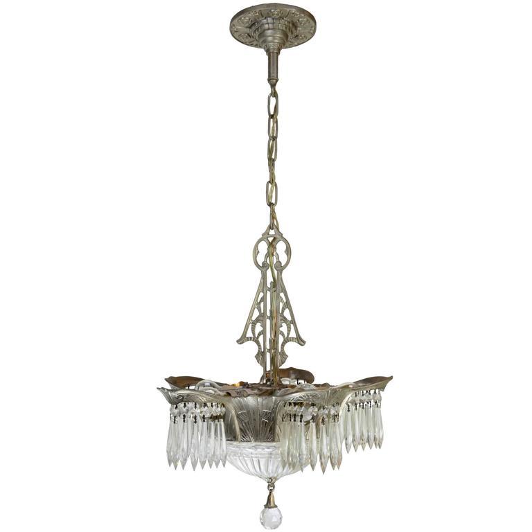 Art Deco Lincoln Lighting Company Crystal Chandelier