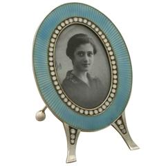 Antique Norwegian Silver and Enamel Photograph Frame