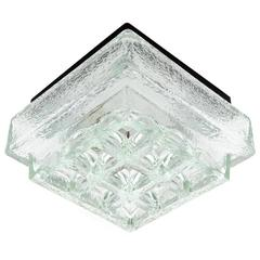 One of Five Square Limburg Textured Glass Flush Mount Lights or Sconces, 1970