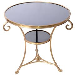 French Round Brass and Marble Side Table