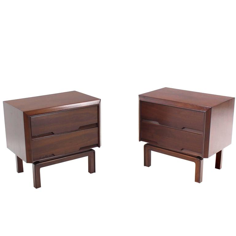 Pair Of Danish Mid Century Modern Walnut End Tables Two Drawer Stands For