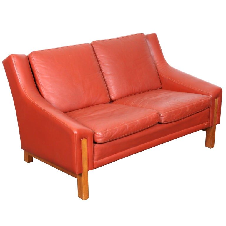 Mid Century Modern Danish Red Leather Loveseat For