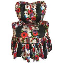 Dolce & Gabbana Fabric Upholstered Victorian Heart Silk Chair