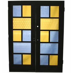 Pair of Rare 1960s Coloured and Textured Glass Double Doors