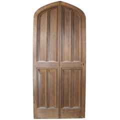 Oversize 19th Century Gothic Style Arched Oak Front Door