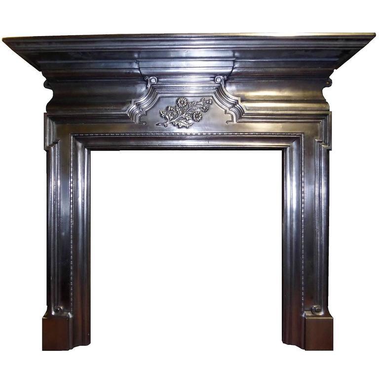 Antique Large Edwardian Burnished Cast Iron Mantel Fireplace Surround For Sale At 1stdibs