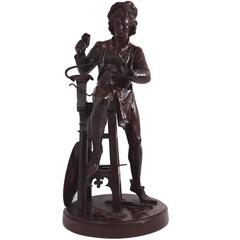 Bronze Sculpture of an Armor Maker by Rancoulet, 19th Century