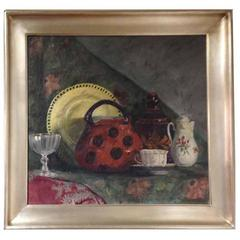 Still Life painting with Red Teapot, Plate and Cup