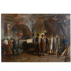 Oil on Canvas of Iron Workers in Factory by Francois Gall, Impressionist