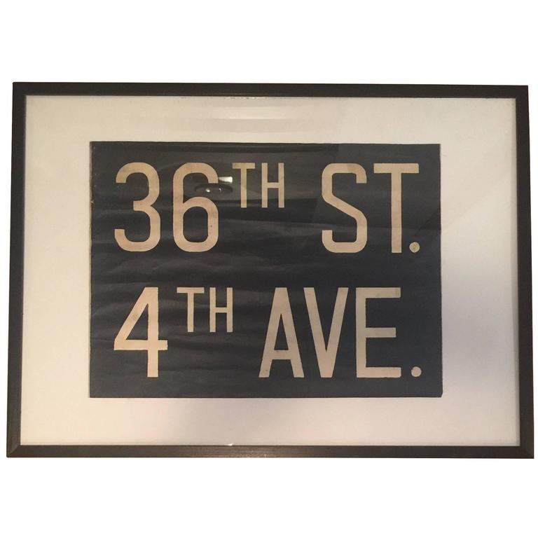 Vintage Framed Subway Sign For Sale