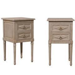 Pair of Small Sized Two-Drawer Painted Wood Nightstand Tables in Neutral Grey