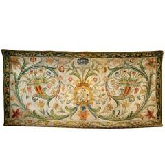 Antique Italian, Spanish Embroidered Silk Altar Panel