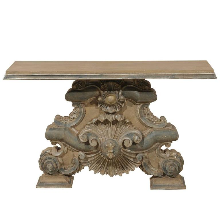 furniture motifs. Italian Baroque Style Fragment Console Table, Rectangular Top With Shell Motifs For Sale Furniture