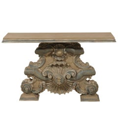Italian Baroque Style Fragment Console Table, Rectangular Top with Shell Motifs