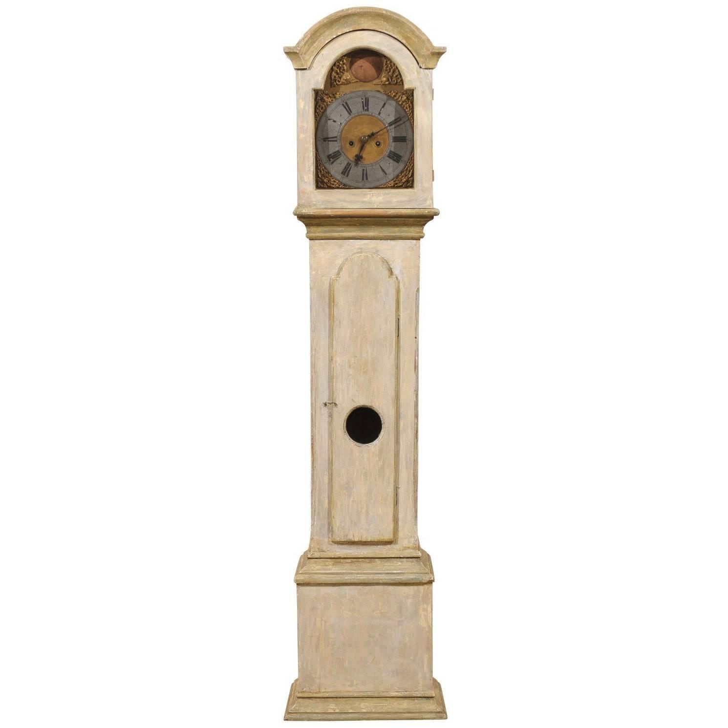 19th C. Swedish Straight Body Floor Clock with Beautiful, Original Gilded Face