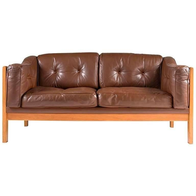 Swedish Oak and Brown Leather Sofa \