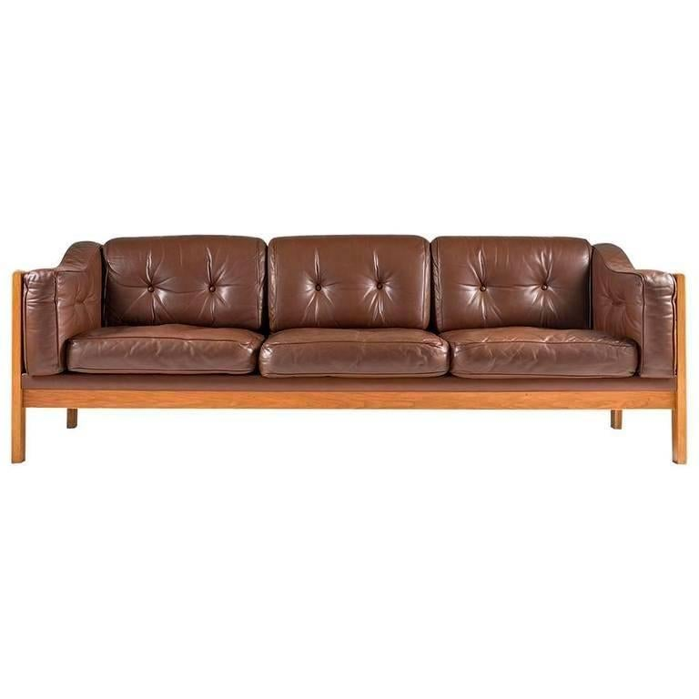 Swedish Mid Century Sofa In Oak And Leather Monte Carlo 1965 For
