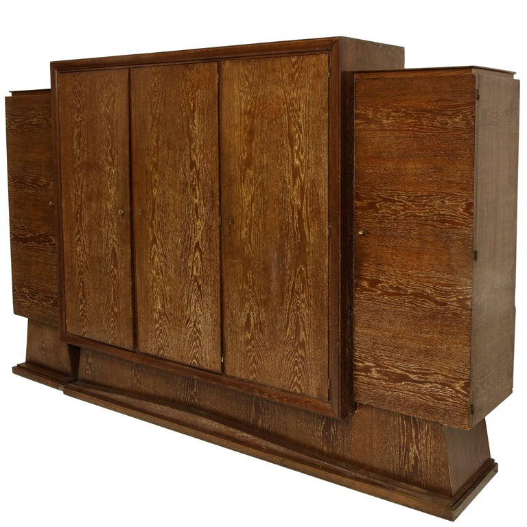 Monumental bookshelf wardrobe library cerused oak deco, France, 1940s, 1930s