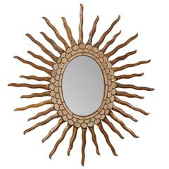 Spanish Oval Shaped Bronze and Gold Antiqued Sunburst Mirror, Intricate Surround