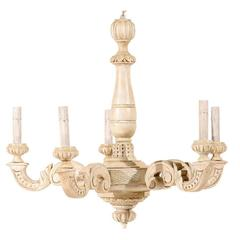 French Five-Light Beige and Cream Colored Chandelier