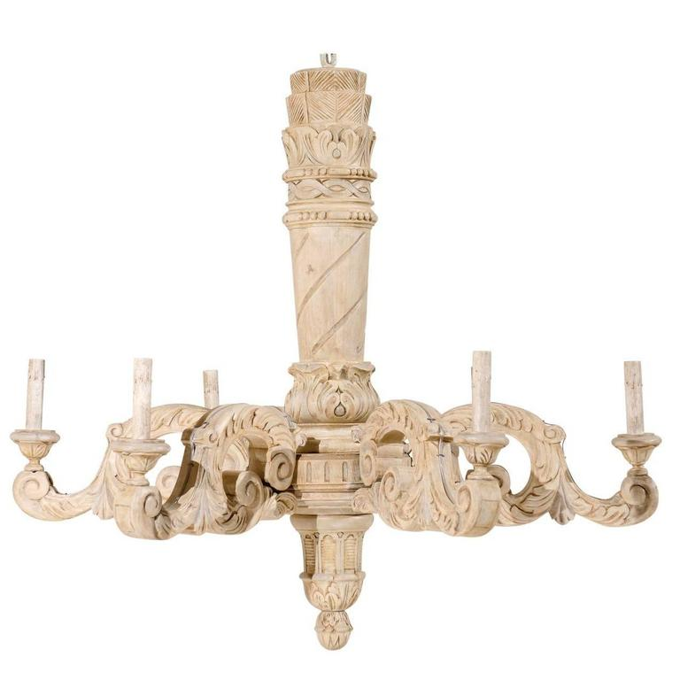 French Carved Wood Six-Light Chandelier in Neutral Light Taupe and Cream Color