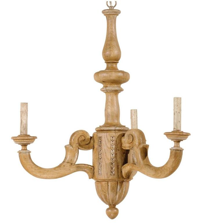 French small three light natural wood chandelier in warm for Natural wood chandelier