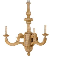 French Small Three-Light Natural Wood Chandelier in Warm Tan Wood Color